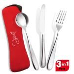 SPP045 - SPICE Set 3 Posate in Acciaio Inox - Forchetta Coltello Cucchiaio + Custodia