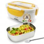 SPICE Amarillo inox Scaldavivande portatile Lunch Box + Forchetta in acciaio Inox e vaschetta 1,5 L estraibile in acciaio inox 40 W coperchio con guarnizione
