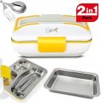 SPICE Amarillo Inox Trio Scaldavivande portatile Lunch Box 40 W 1litro + Set 2 Vaschette acciaio inox estraibili