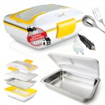 Spice Amarillo inox Trio Plus Scaldavivande 40 W  Doppio Voltaggio  220V - 12V + Vaschetta acciaio inox con coperchio di tenuta