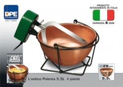 """DPE - PAIOLO IN RAME CON MESCOLATORE AUTOMATICO   5,5  LITRI  MADE IN ITALY """"ANTICA POLENTA"""""""