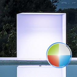 MONACIS - CUBE POT BRIGHT LED MULTICOLOR VASO LUMINOSO A BATTERIA 40 X 40 X 40 CM