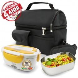 SET Garanzia 4 anni + BORSA Termica + SPICE Amarillo inox Scaldavivande Lunch Box con vaschetta 1,5 L estraibile in acciaio inox 40 W coperchio con guarnizione