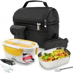 SET BORSA Termica +  SPICE Amarillo inox Scaldavivande Doppio Voltaggio Lunch box con Forchetta e vaschetta 1,5 L estraibile in acciaio inox 40 W coperchio con guarnizione