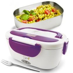 SPICE Amarillo Inox Scaldavivande Portatile Lunch Box con vaschetta Estraibile e Forchetta in Acciaio Inox Viola 40 W 1,5 Litri