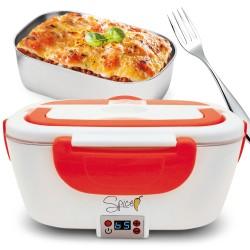 SPICE Amarillo Scaldavivande Portatile Lunch Box Controllo Digitale della temepraura vaschetta 1,5 L Estraibile in Acciaio Inox 40 W Coperchio con Guarnizione, SPP013-DIG, Red