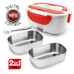 SPICE Amarillo Inox Digital Scaldavivande Portatile Lunch Box 40 W 1,5 Litri + Set 2 Vaschette Acciaio Inox Estraibili