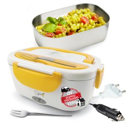 SPICE Amarillo inox PLUS Scaldavivande portatile Lunch Box Doppio Voltaggio Double Voltage 220V - 12V + Forchetta Inox e vaschetta 1,5 L estraibile in acciaio inox 40 W coperchio con guarnizione