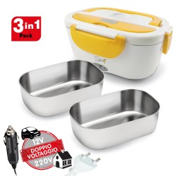 SPICE Amarillo inox PLUS Scaldavivande portatile Lunch Box 40 W coperchio con guarnizione, Doppio Voltaggio Double Voltage 220V - 12V + 2 Vaschette Acciaio inox estraibili