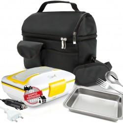 SET BORSA Termica +  SPICE Amarillo inox TRIO PLUS Scaldavivande Doppio Voltaggio Lunch box con vaschetta 1 L estraibile in acciaio inox 40 W coperchio con guarnizione