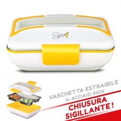 SPICE AMARILLO INOX TRIO Scaldavivande elettrico vaschetta 3 scomparti Acciaio Inox estraibile con chiusura sigillante portatile schiscetta box portavivande termico