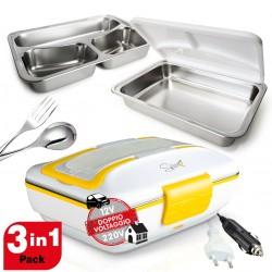 Spice Amarillo Inox Trio Plus Scaldavivande 40 W Doppio Voltaggio 220V - 12V + Set 2 Vaschette inox e coperchio di tenuta