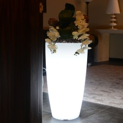 MONACIS - STILO ROUND BRIGHT VASO LUMINOSO LED WHITE H 70 Ø 33 CM