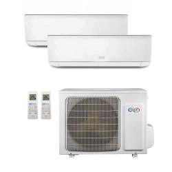 ARGO Ecowall 9+12 Climatizzatore Fisso Dual Split DC Inverter con pompa di calore, Bianco, 9000 + 12000 BTU/h