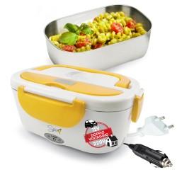 SPICE Amarillo inox PLUS Scaldavivande portatile Lunch Box Doppio Voltaggio Double Voltage 220V - 12V vaschetta 1,5 L estraibile in acciaio inox 40 W coperchio con guarnizione
