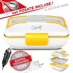 SPICE Amarillo Inox Trio PLUS Scaldavivande portatile Lunch Box Doppio Voltaggio Double Voltage 220V - 12V con vaschetta estraibile in acciaio inox 40 W coperchio con guarnizione