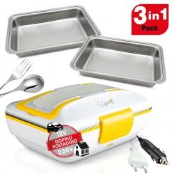 Spice Amarillo inox Trio PLUS Scaldavivande portatile Lunch Box 40 W coperchio con guarnizione, Doppio Voltaggio Double Voltage 220V - 12V + 2 Vaschette Acciaio inox estraibili