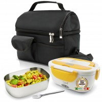 SET BORSA Termica +  SPICE Amarillo inox Scaldavivande Lunch Box + Forchetta e vaschetta 1,5 L estraibile in acciaio inox 40 W coperchio con guarnizione