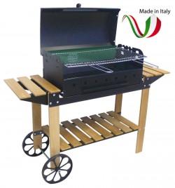 FERRABOLI - 153 BBQ BARBECUE A CARBONELLA MARE LEGNO 140x46x110 CON RUOTE E COPERCHIO MADE IN ITALY