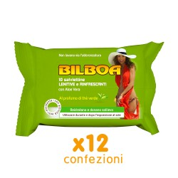 BILBOA - 12 CONFEZIONI DA 10 SALVIETTINE LENITIVE E RINFRESCANTI CON ALOE VERA PROFUMAZIONE THÈ VERDE