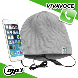 Spice Cappello Berretto con auricolari cuffie integrati vivavoce smartphone - Grigio