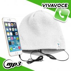 Spice Cappello Berretto con auricolari cuffie integrati vivavoce smartphone - Bianco