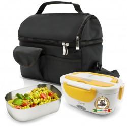 SET BORSA Termica +  SPICE Amarillo inox Scaldavivande Lunch Box con vaschetta 1,5 L estraibile in acciaio inox 40 W coperchio con guarnizione