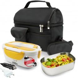 SET BORSA Termica +  SPICE Amarillo inox Scaldavivande Doppio Voltaggio Lunch box con vaschetta 1,5 L estraibile in acciaio inox 40 W coperchio con guarnizione