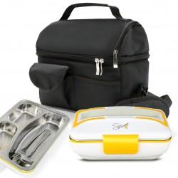 SET BORSA Termica + SPICE Amarillo inox TRIO Scaldavivande Lunch box con vaschetta estraibile in acciaio inox 40 W coperchio con guarnizione