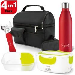 Set Borsa Termica + Bottiglia Termica Acciaio Inox 500 ml + Scaldavivande Amarillo Easy + Set 3 Posate in Acciaio Inox