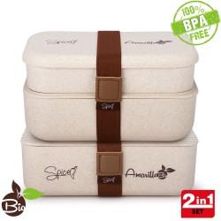 SPICE Amarillo Bio Trio Set 2 Scaldavivande Bento Box schiscetta Portatile portavivande Termico Materiale Ecologico Naturale BPA Free capacità 2,3 Litri (1,2 + 1,1Litri)